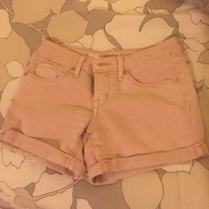 Pastel pink denim shorts